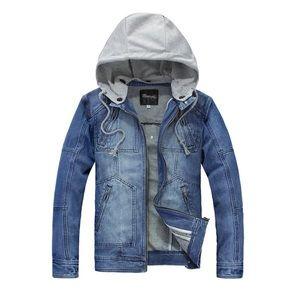 NEW Mens Denim Multi Pocketed Zip Up Hoodie Jacket